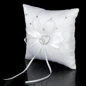 Hochzeit-Ringkissen-15cmx15cm-Weiss-Doppelherz-Kristall-Strass-X8F9-BS