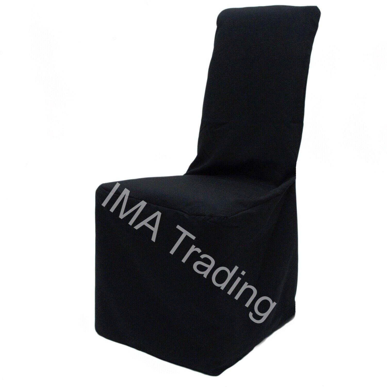 100 Noir Chaise Couvre, en polyester-chaise, Carré Haut-chaise