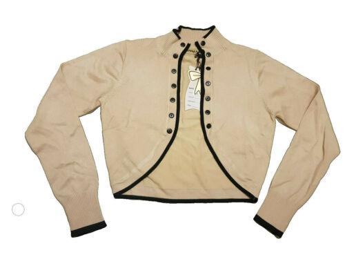 Cardigan corto donna coprispalle stile retrò maglia bicolore bottoni nuovo