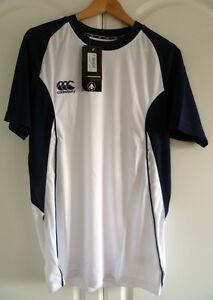 Canterbury-of-New-Zealand-Men-039-s-Speed-Dry-Training-Tee-White-Navy-Size-Medium