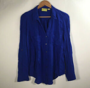 Maeve-By-Anthropologie-Women-s-Size-M-Button-Front-Shirt-Blue-Blouse-Long-Sleeve