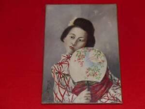 OL-AUF-LEINWAND-unterzeichnet-ca-1880-Frau-Japanisch-Sammlung-HENRI-CORDIER