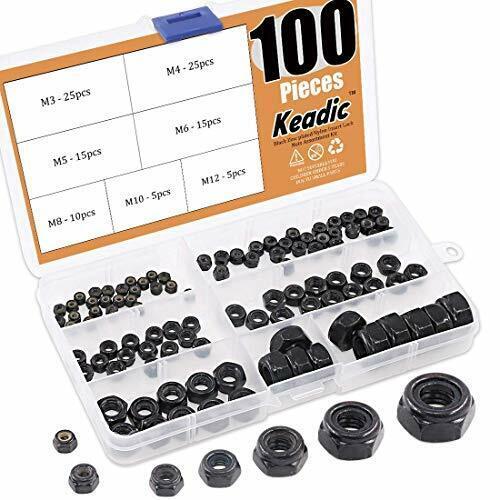 100 Pieces Metric Black Zinc Plated Nylon Insert Lock Nuts Assortment Kit