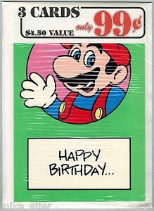 Nintendo-Mario-Bros-Greeting-Card-3-Pack-20-Nexoft-1989-Factory-Sealed