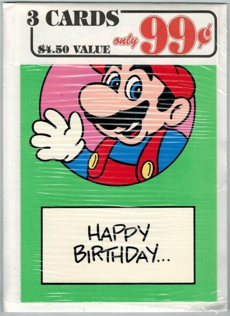 Nintendo Mario Bros Greeting Card 3 Pack #20 (Nexoft, 1989) Factory Sealed