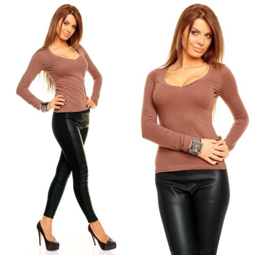 Langarm T-Shirt Shirt Pullover mit großem U-Asschnitt figurbetont 23115