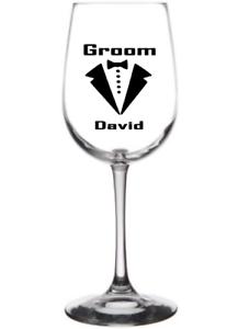 X1 Vinyl Decal Personalised for Wine Glass wedding TUXEDO GROOM BEST MAN ETC