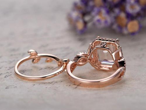 3.10Ct Emerald Cut Morganite /& Diamond Engagement Bridal Ring 14k Rose Gold Ovar