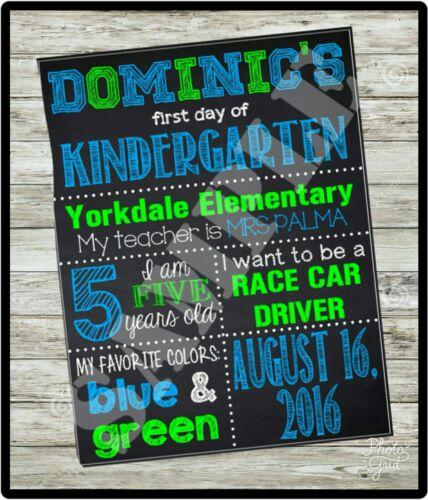 KINDERGARTEN Chalkboard sign U PRINT 1st CUSTOM FIRST Day of School sign