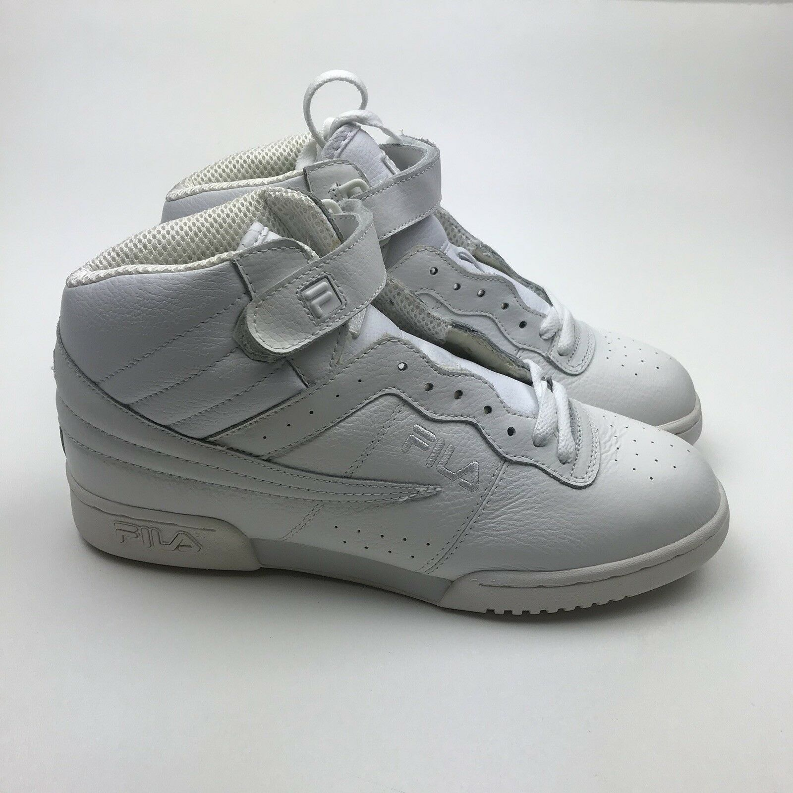 VINTAGE MEN'S FILA F13 F-13 ALL WHITE MID HIGH TOP BASKETBALL SHOE'S WHITE Wild casual shoes