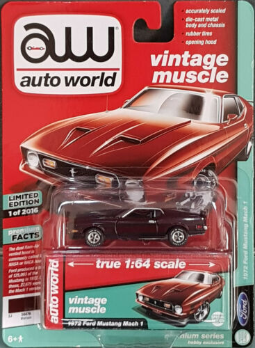 Autoworld premium series ford 1972 Mustang Mach 1 rojo oscuro