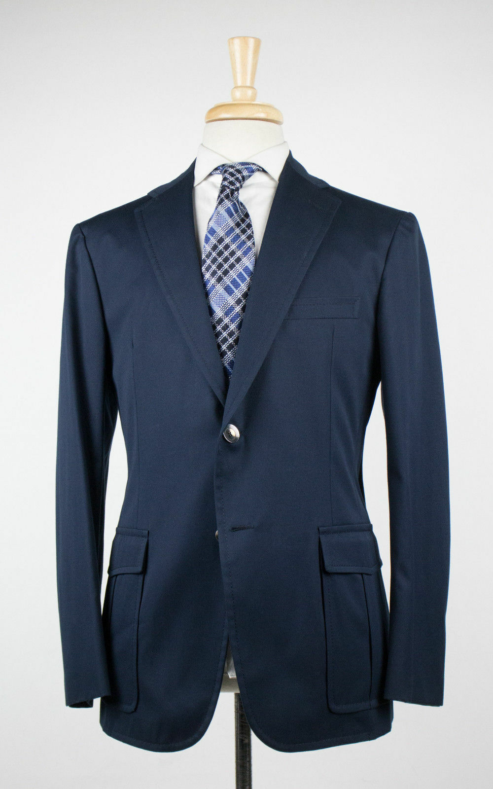 New D'AVENZA Forte Navy bluee Cotton 2 Button Sport Coat Blazer Size 50 40R