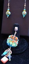 Lamp Work Bead Pendant with Sterling Silver and  Matching Earrings