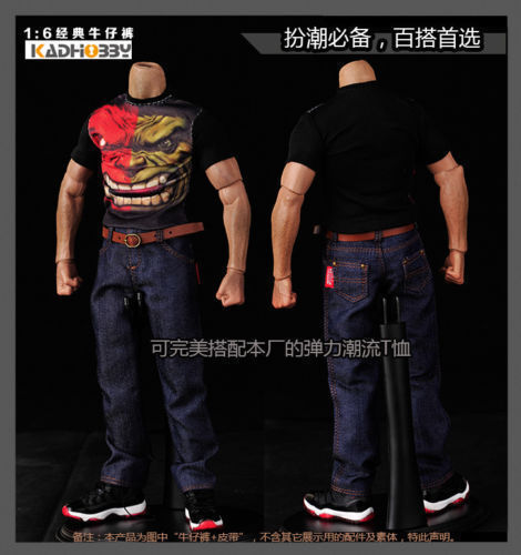 1//6th Classic Jeans Denim Pants S06 For 12/'/' Muscular Male Figure Body Model