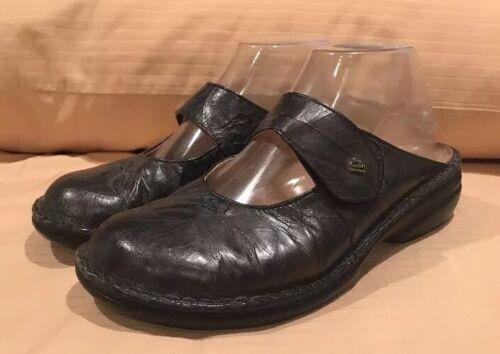 Finn Comfort Women Mary Jane Slide Clogs Black Ger