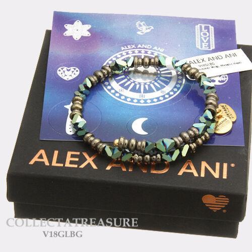 Authentic Alex and Ani Glimmer Wrap Metallic Hazel Beaded Bangle