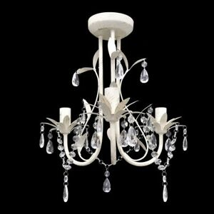 Details About Vintage Shabby Chic Antique White Crystal Pendant Ceiling Light Lamp Chandelier