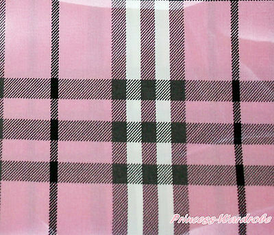 Black Hot Red Light Pink White Checked Plaid Hand Crafting Sewing Satin Fabric