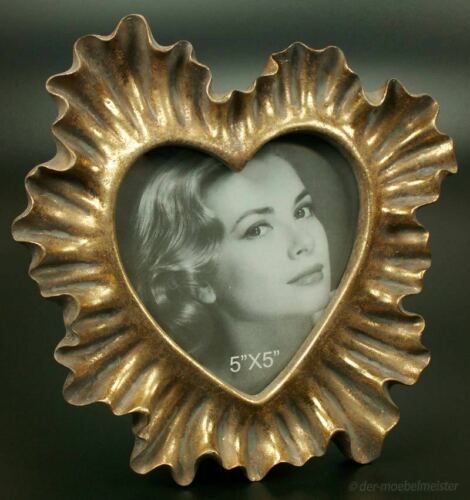 Rokoko Barock Bilderrahmen Fotorahmen Herz Rahmen Gold Holz Deko Koralle Antik