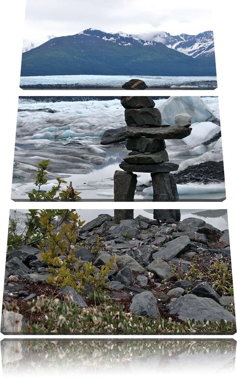 Steinmenschskulptur in Paesaggio 3-Teiler Quadro su Tel Decorazione Parete