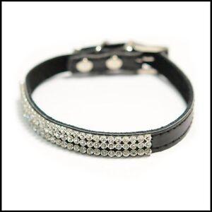 BLACK-LEATHER-SPARKLE-DOG-COLLAR-diamante