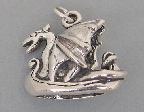 VIKING DRAGON SHIP Norse Scandinavian 3D Sterling Silver Charm 4146