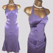 KAREN MILLEN Lilac Halterneck Silk Salsa Cocktail Downton Cocktail Dress 12 UK