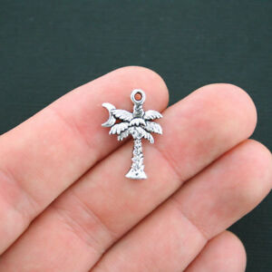 8 Palm tree spacer bead charms antique silver tone T123