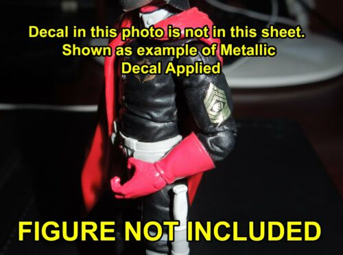 GI Joe Headhunter Guard Custom Waterslide Decals doré métallisé sur clair Arrière