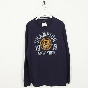 Vintage-CHAMPION-Big-Spell-Out-Logo-Long-Sleeve-T-Shirt-Navy-Blue-XL