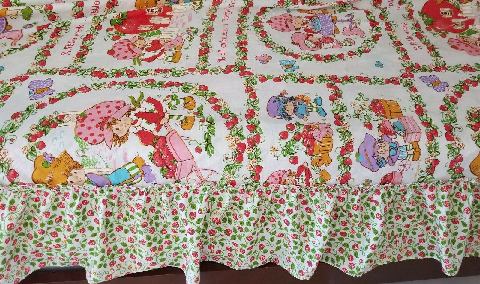 Vintage Strawberry Shortcake Full Taille Canopy Bedding Bedspread JC Penny LNC