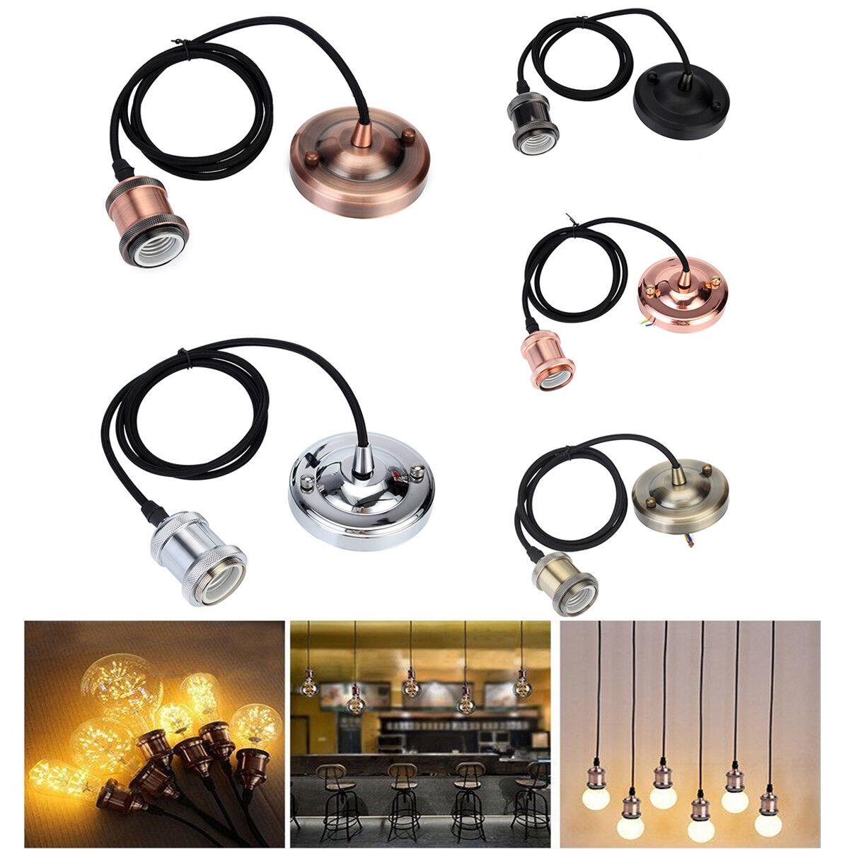 Vintage Edison E27 Socket Lampenfassung mit 1.2M Kabel Deckenfassung Lampenfuss