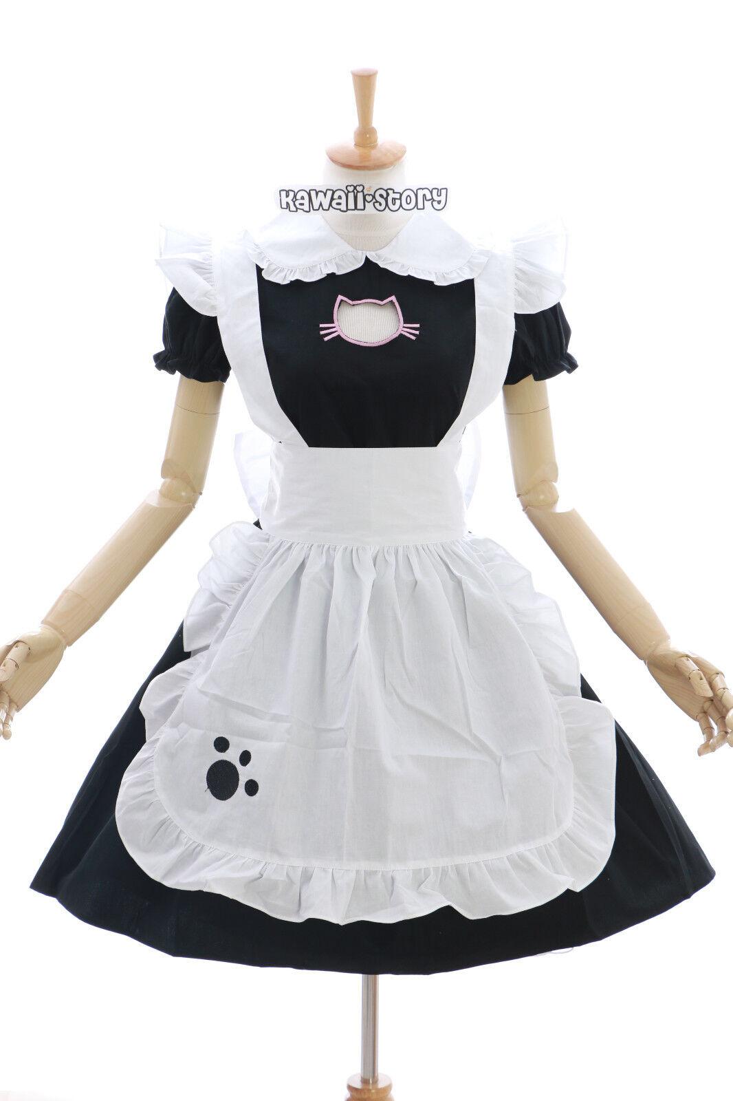 JL-635 Neko Cat Katze schwarz Maid Zimmermädchen Lolita Kleid Kostüm Cosplay
