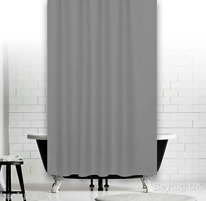 Plain Grey Fabric Shower Curtain In 5 Sizes Extra Long Wide Or