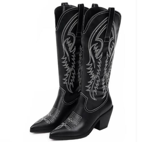 Goth Women Cowboy PU Leather Chunky Heel Pointy Toe Knee High Ridng Boots 34-47