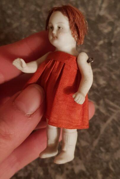 100% Vrai Petite Poupée Ancienne En Biscuit Années 1800 - Bisque Doll 1880 Year (7,5 Cm)