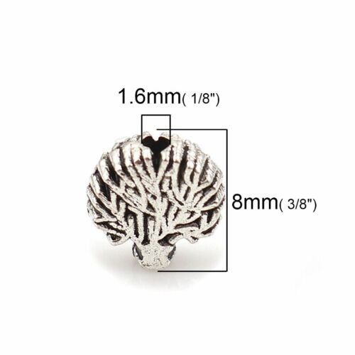 50 Or 100PCs Tree Of Life Beads 8mm Antiqued Silver Plated Spacers B7664-20