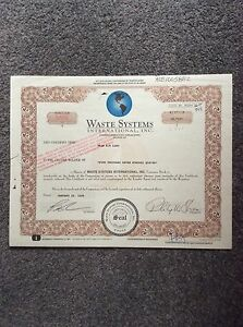 Waste-Systems-Int-Dated-1999-4711-Shares-Invalid-SHARE-CERTIFICATE