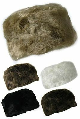 Ladies Girls Russian Style Pillar Box Plush Faux Fur Hats Winter fashion design