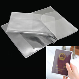 2-X-Reisepasshuelle-Pass-Huelle-Etui-Passport-Cover-Holder-Transparent-fuer-13x9cm