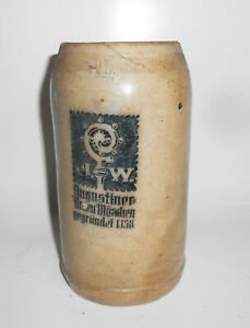 Seltener-Beer-Mug-J-W-Augustiner-Brew-Munchen-Vor-1945-Unfortunately-Defective