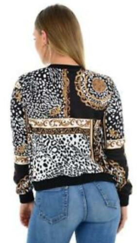 New Women Bomber Zipper Jacket Ladies Baroque Chain Leopard Print UK 8-22