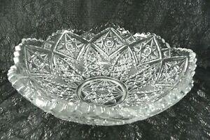 Pressed-Glass-Bowl-8-Peaks-Sawtooth-Rim-8-75-Stars-Daisies-Cross-Hatch-Vintage
