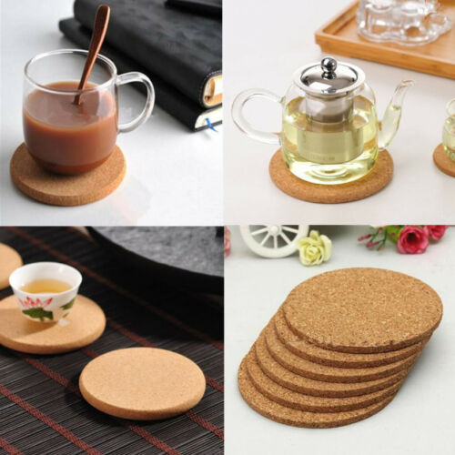 6 x Coaster Drink Cup Mat Coffee Cork Round Placemats Plain Tea Wine Tablemat AR