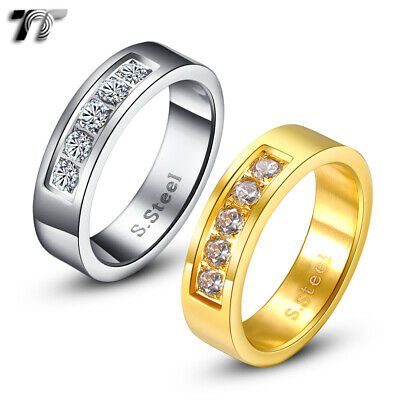 TT 6mm Stainless Steel Mother Pearl Wedding Band Ring R204