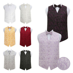 DQT-Premium-Passion-Floral-Vest-Wedding-Mens-Boys-Waistcoat-amp-Bow-Tie-Set
