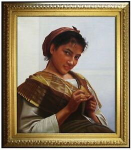 Framed-Hand-Painted-Oil-Painting-Repro-Bouguereau-Young-Girl-Crocheting-20x24in