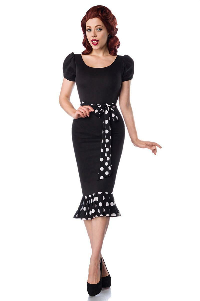 Retro Jersey Kleid schwarz inkl Gürtel figurbetontes Kleid knielang Größe XS