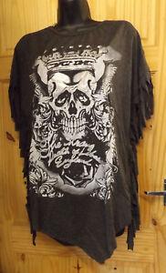 Grey Halloween Fringed Skull Ladies Poncho Oversized Top T-shirt Free UK P/&P