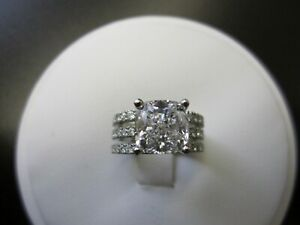 2.90 Ct Certified Moissanite Engagement Band Set Solid 18K White Gold Size 8 9.5